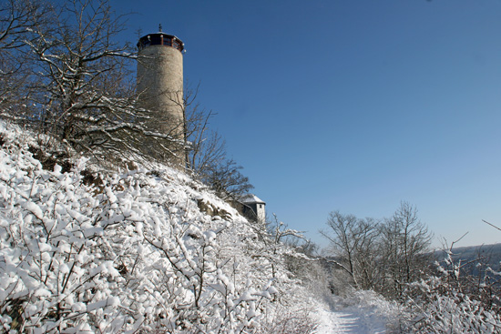 Blick zum Fuchsturm bei Jena